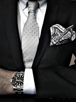 "Black. Elevate a basic black suit with the perfect accessorizing! A fabulous textural tie, Italian hanky, a sparkle of jewelry, & don""t forget that crispy, Pima cotton shirt with just a touch of sheen!"