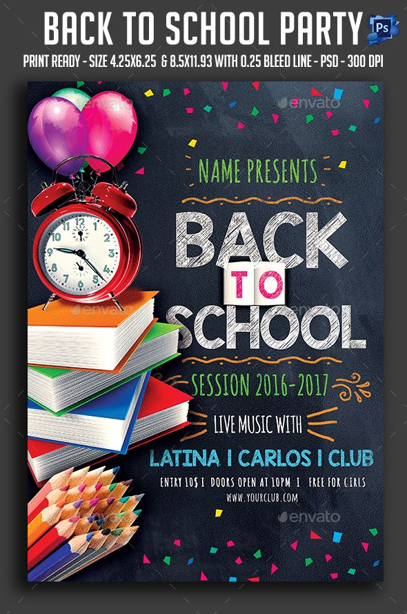 Back To School Party Flyer - Download…