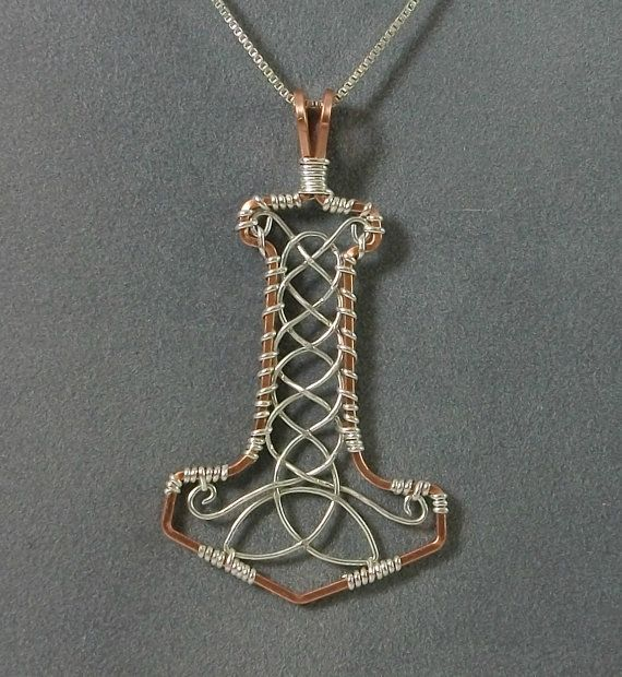 Handmade Mjolnir Pendant Wire Wrapped in Sterling Silver and Copper via Etsy