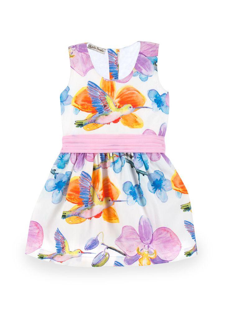 """BINKI Платье """"Колибри"""" с Дизайном Акварели и Бантом на Спинке  #binkiru #детскаяодежда #магазиндетскойодежды"""