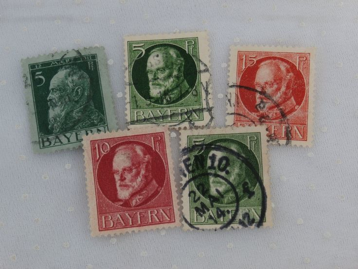 5 Bayern Bavaria German Stamps, Red and Green Lot 5 pf, 10 pf, 15 pf Early 1900s