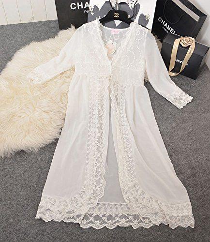 Gaorui Damen Schwangerschafts Abendkleid Transparent Spitzenkleid Frühling Lange Nachtwäsche Weiß: Amazon.de: Bekleidung