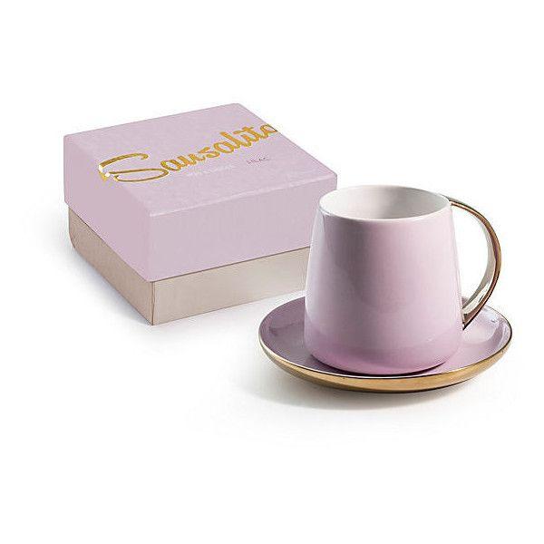 Sausalito Mug & Saucer Lilac Tea Cups & Saucers ($36) ❤ liked on Polyvore featuring home, kitchen & dining, drinkware, purple, tea saucer, tea cup and saucer, purple mug, tea mug and tea cup & saucer