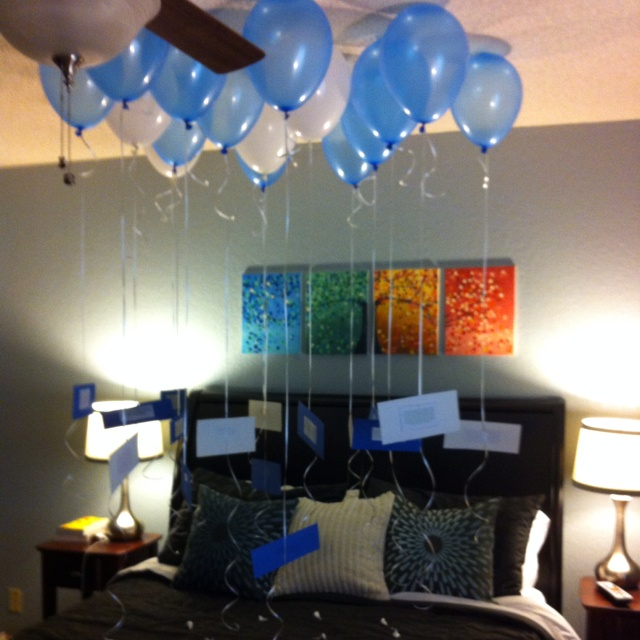 Our anniversary is a couple of days away. I'm doing this n it's going to go perfect with the other part of my gift.  Anniversary surprise! Each balloon has a memory written on a card. One for each year we've been married plus one for the year we dated! Also Hershey kisses are there to make things a lil more sweet!