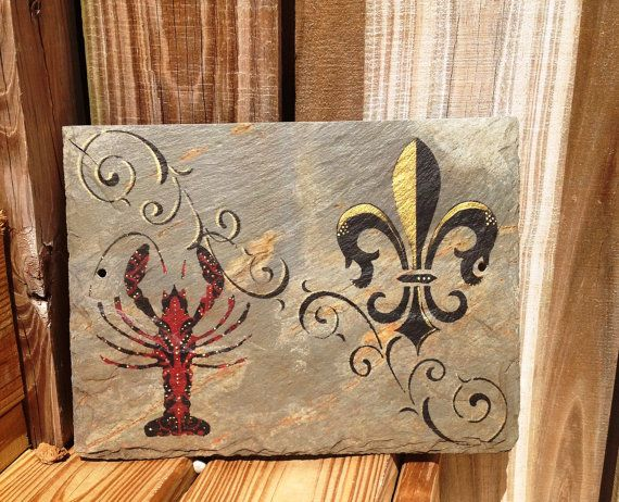 crawfish and fleur de lis wall art new by