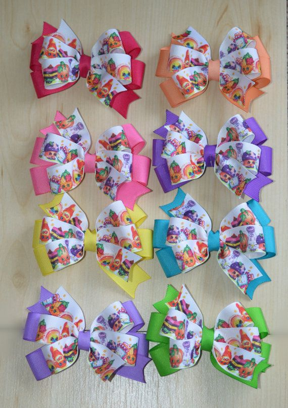 Party Favors Shopkins hair bow Sets of 8 and 12 by BeArtsyBoutique