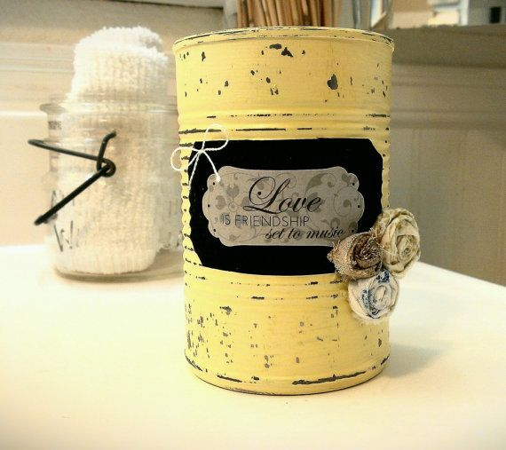 Recycled Painted Tin Soup Cans..... by FrenchieBoutique on Etsy, $7.00