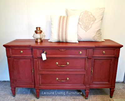 leisure living: Buffet redone with Annie Sloan chalk paint in Primer Red,  then clear and dark wax - Ideas About Red Buffet On Pinterest Red Hutch, Red Painted