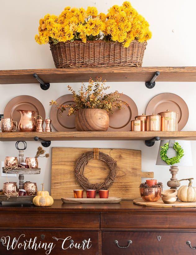 21 Great Copper Decoration Ideas Diy Copper Decor Copper Decor Fall Shelf Decor