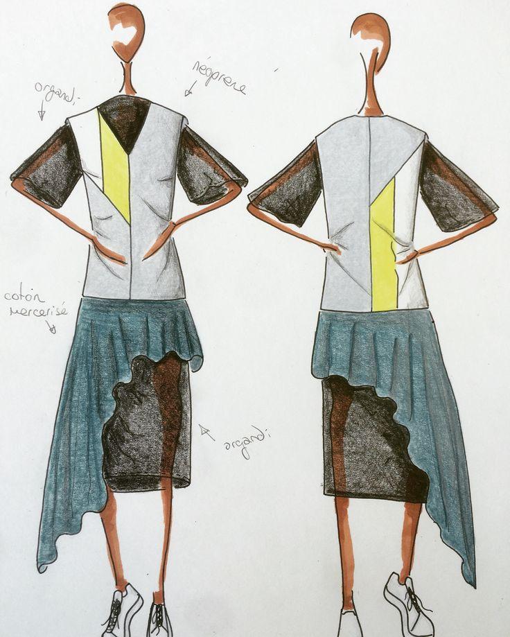 Croquis De Mode Dessin Art Travail Silhouette Femme Volant Transparent Superposition Jaune Noir Turquoise Prparation C
