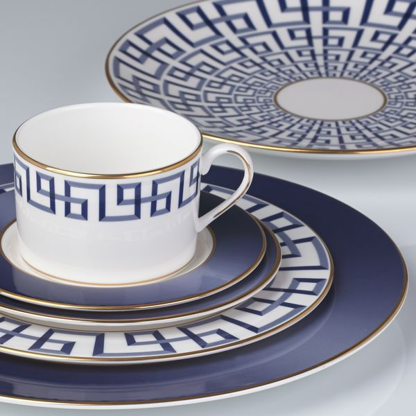 Beautiful reinterpretation of the classic Greek Key motif; dinnerware place setting by Lenox; designed in collaboration with decorator Brian Gluckstein.