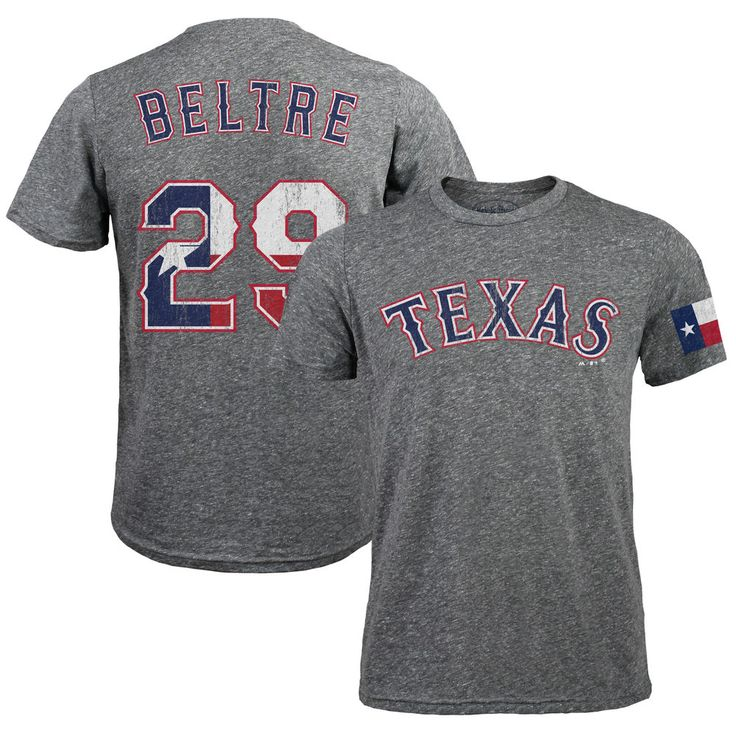 Adrian Beltre Texas Rangers Majestic Threads Tri-Blend Flag Name & Number T-Shirt - Gray