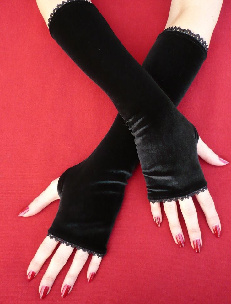 Black Velvet Armwarmers with Thumb Holes Fingerless by estylissimo