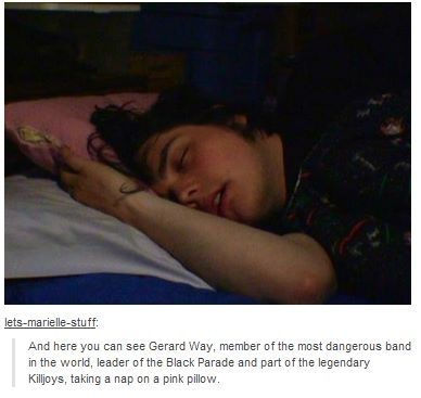 My Chemical Romance ~ Gerard Way with his pink pillow.