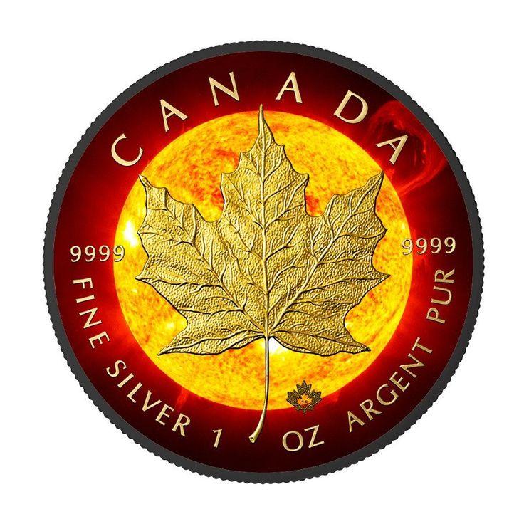 2015 1 Ounce Solar Flare Maple Leaf Ruthenium & 24K Gold Silver Coin – ArtInCoins