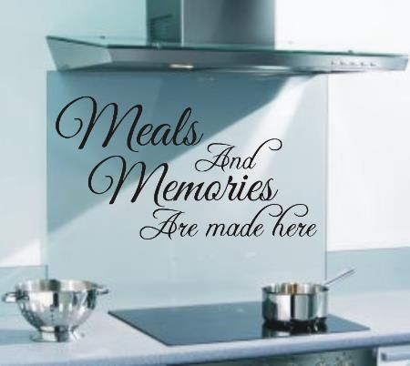 Meals and memories are made here funny kitchen wall art sticker quote is available in various sizes and colours making it ideal to apply to any wall