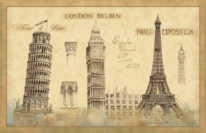 Gravura da torre Eiffel, Big Ben e torre Pizza