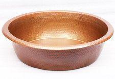 "PED17-17"" Spa Foot Soak Hammered Copper Pedicure Bowl-14"" bottom"