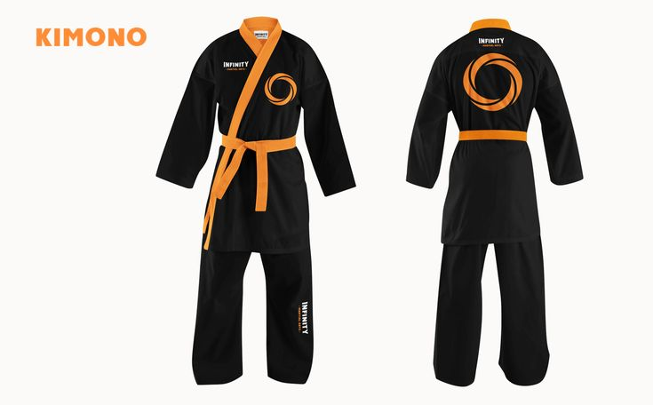 Kimono Design. Jiu-Jitsu. Infinity Martial Arts Logo & Identity Design on Behance by graphic designer & illustrator Catherine Uvarova. #branding #tshirt #inspiration #corporate #visual #identity #logo #martial #art #design #black #orange #tangerine #mobius