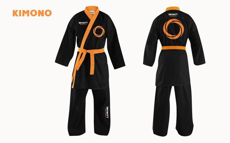 Kimono Design. Jiu-Jitsu. Infinity Martial Arts Logo & Identity Design on Behance by graphic designer & illustrator Catherine Uvarova. #branding #tshirt #inspiration #corporate #visual #identity #logo #martial #art #design #black #orange #tangerine #mobius