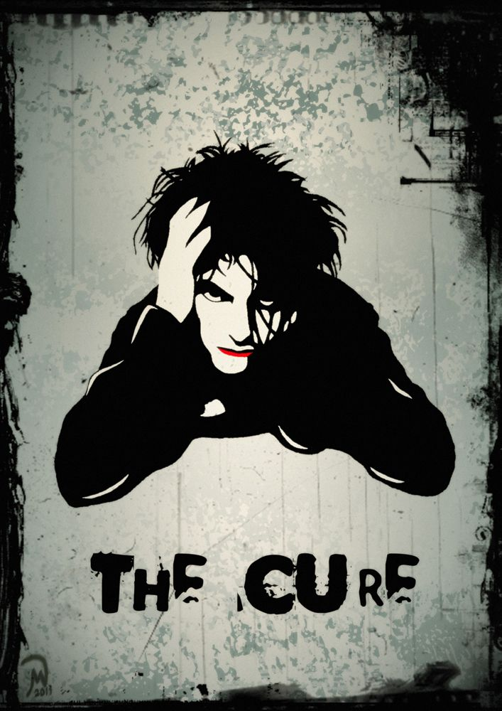 Alternative\Gothic Rock band: The Cure, with Robert Smith in the illustration of a book cover.