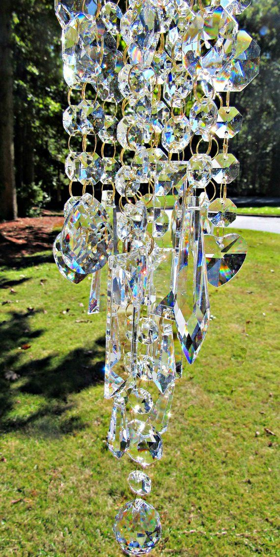 Clear Crystal Wind Chime Sun Catcher Garden Accent Mwc174 Wind Chimes Crystal Wind Chimes Asfour Crystal
