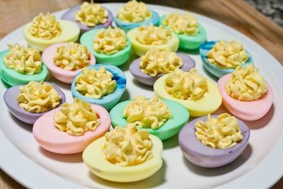 We all love to color eggs for Easter, but what about coloring them after they're shelled to make beautiful deviled eggs?! Also, did you know that you can make natural Easter egg dye with dark and bright colored foods such as blueberries, beets, grape juice, red cabbage, paprika, etc? I'm going to play around with …