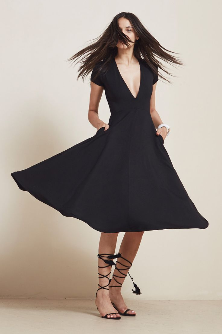 The Garnet Dress  https://thereformation.com/products/garnet-dress-black