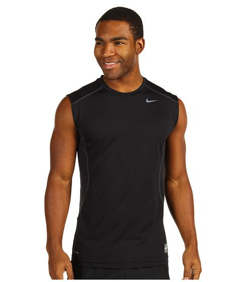 Nike Pro Combat Core Fitted S/L Shirt Carbon Heather/Black - Zappos.com Free Shipping BOTH Ways