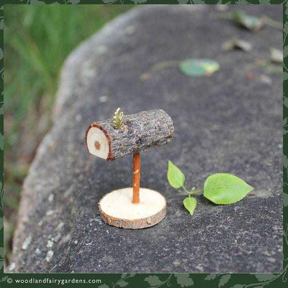 Tiny fairy garden mailbox with brass leaf by WoodlandFairyGardens