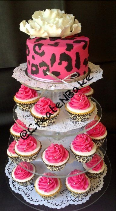 I want this for my next birthday! Pink Leopard print cake & cupcakes