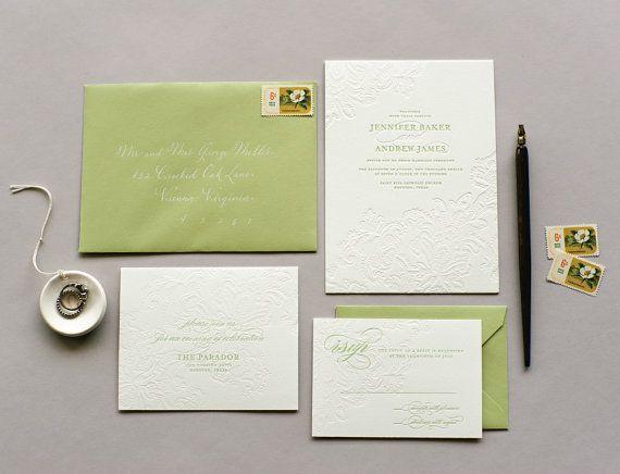 Isabel Blind Letterpress Wedding Invitation Sample  by palmpapers, $5.00