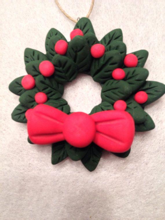 Polymer Clay Christmas Wreath Ornament by JCBDesignStudio on Etsy, $5.00