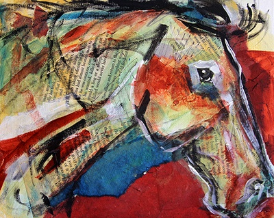 Artists Of Texas Contemporary Paintings and Art - Summer Horse 90, Abstract Horse Painting by by Texas Artist Laurie Pace