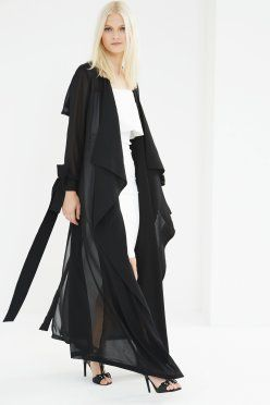 $62EU-Lavish Alice-Black Sheer Chiffon Tie Cuff Detail Maxi Trench Coat