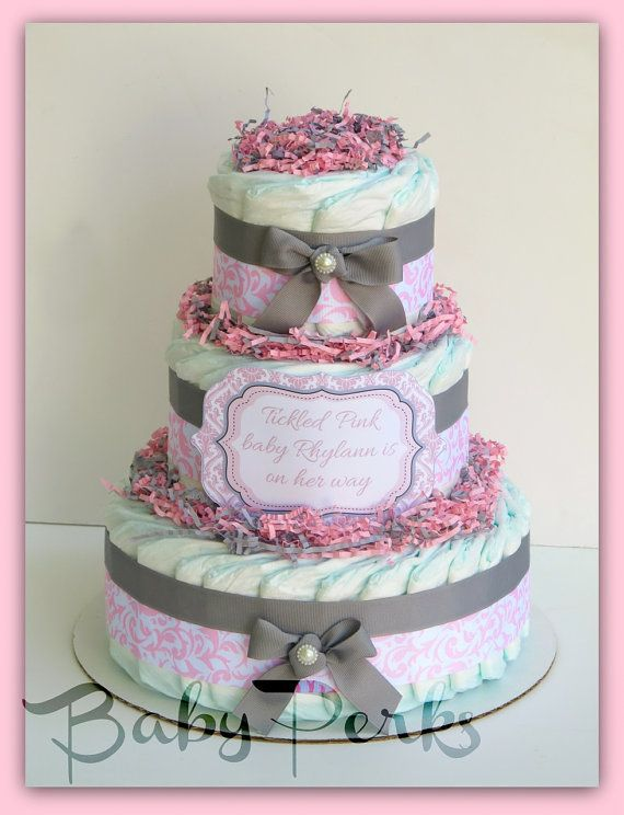 Pink Damask Diaper Cake Pink and Grey Baby Shower  Baby by MsPerks, $57.00
