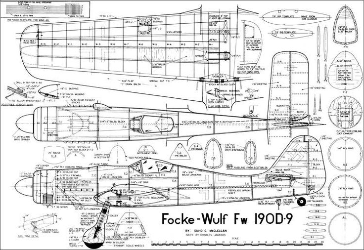 The FW 190D9 is one of the model airplane plans available for download and printing.