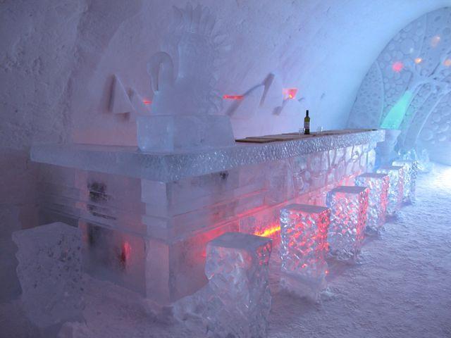 ice-bar-snow-village-lainio  Lapland, Finland  The ice bar