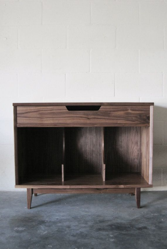 Walnut Record Storage Cabinet by WileyJames on Etsy
