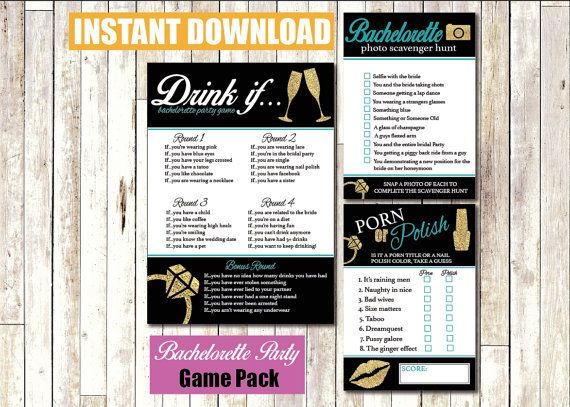 Bachelorette Party Games Instant Download Printable Pink and Black