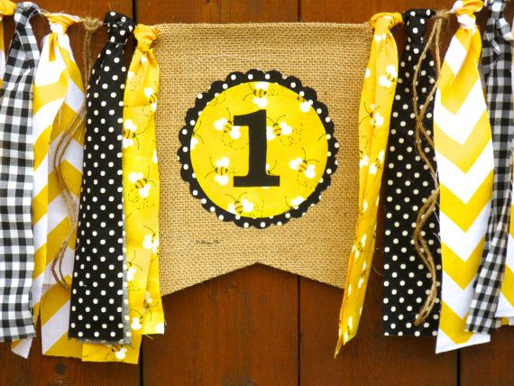 Bumble Bee Birthday Banner Highchair High Chair Garland Honey Bee One First Yellow Black Picnic Plaid Polka Dot Party Cake Smash Photo Prop