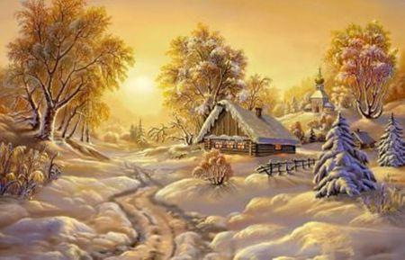 A Winter Morning - beauty, houses, snow, winter, nature, landscape, sun