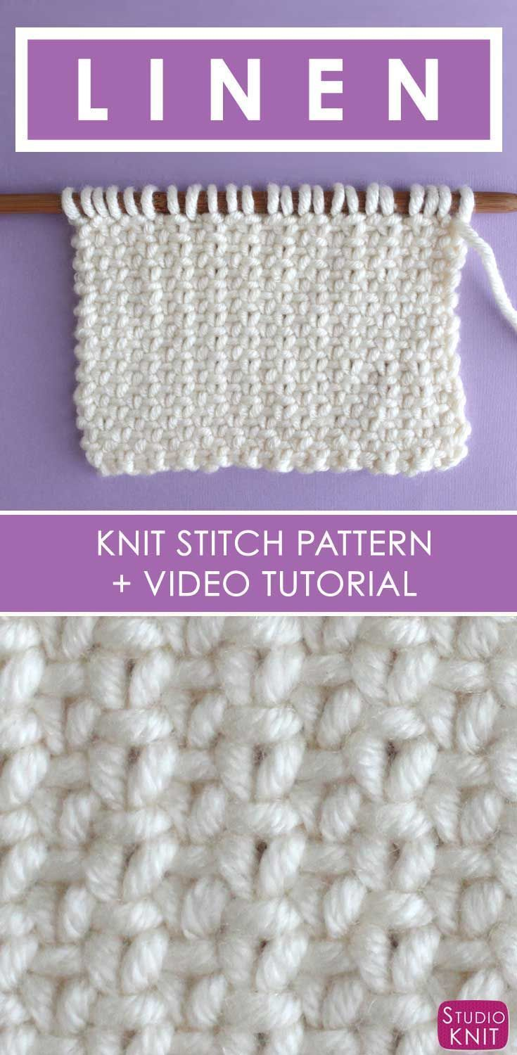 How to Knit the Linen Stitch with Free Written Pattern and Video Tutorial by #StudioKnit #knitstitchpattern