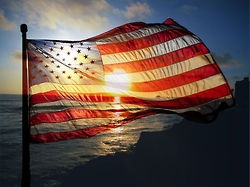 Beautiful flag in the sunset