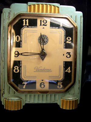 Vendome art deco alarm clock lux clock manufacturing company USA duplicate of my Dad's bedside alarm - ca.30s art deco