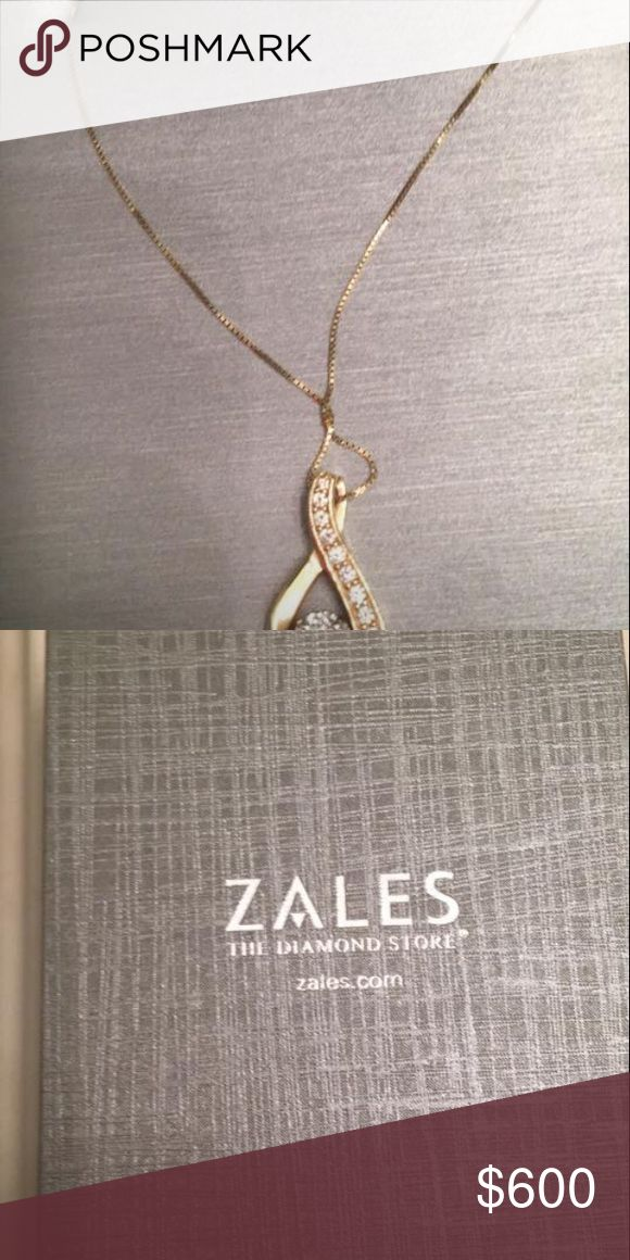 Gold and diamond necklace Valentine's Day is coming and this Beautiful gold a diamond necklace from Zales would make the perfect gift!! Sirena 3/8 CTW Diamond illusion necklace Item #19436054 original price on Zales website right now $1339 on sale for $999.99. Zales Jewelry Necklaces