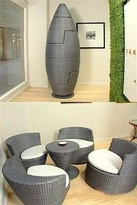 If your place is REALLY tiny....? (cool gadgets, inventions, ideas, interior design, home decor, fun, creative, inspiration, amazing, different, interesting, chairs, sitting area, room, seats, coffee table, tea)