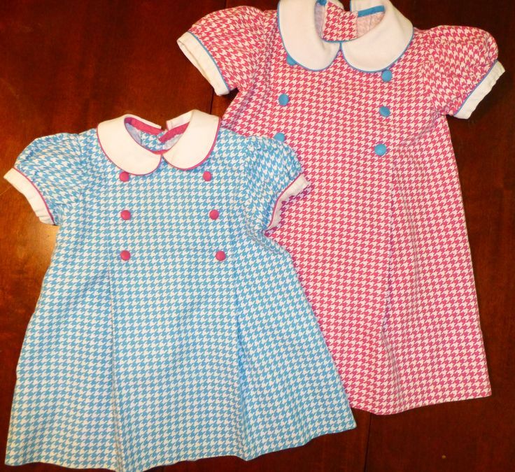"By Debbie Galdo. Dress for Big Sis: ""Adelaide"" by Children's Corner in hot pink houndstooth fabric by Fabric Finders. Little Sis in turquoise houndstooth."
