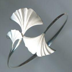 Sterling silver ginkgo leaf hinged bangle bracelet. Argo  Lehne Jewelers.