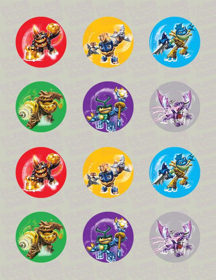 Skylanders Swap Force Inspired Edible Icing Cupcake Decor Toppers Set 3 - SSF3